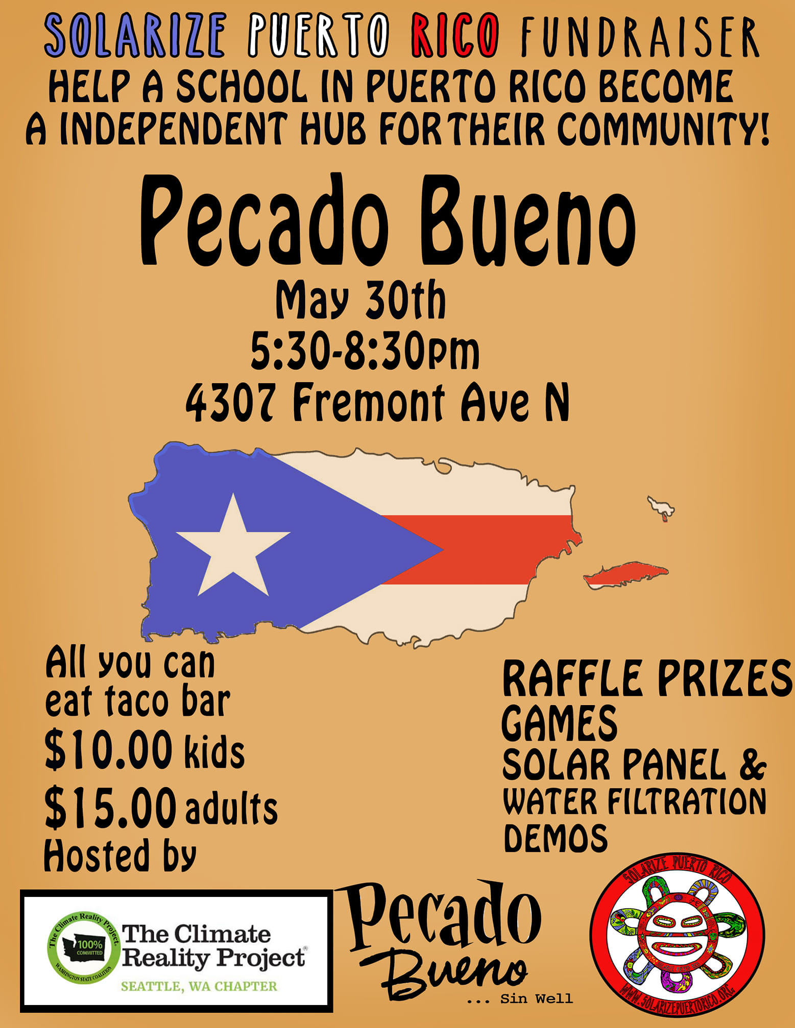 Solarize Puerto Rico Fundraiser at Pecado Bueno May 30th, 5:30pm-8:30pm. Hosted by Climate Reality Project Seattle Chapter